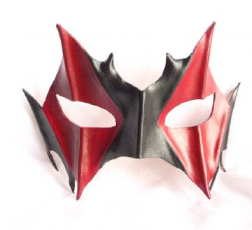Genuine Handmade Italian Leather Little Red Devil half Mask